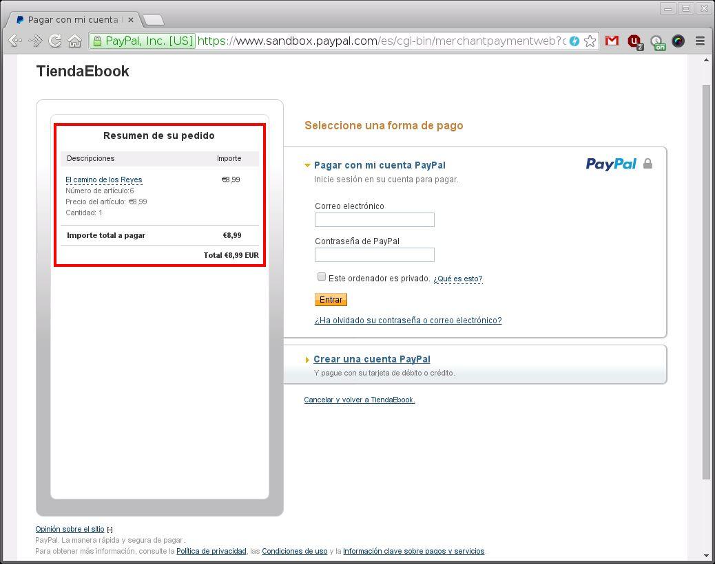 Imagen de la pagina de paypal para el pago de un libro